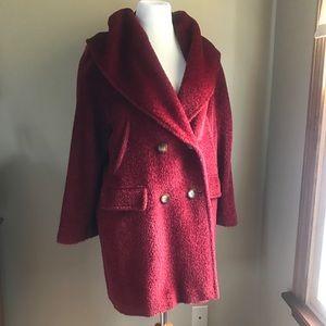 Max Mara Iconic Pappino Red Alpaca Coat Size 6